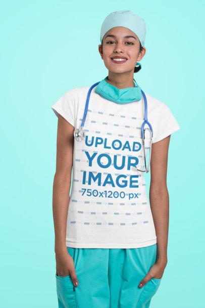 T-Shirt Mockup Featuring a Friendly Nurse at a Studio 27480a