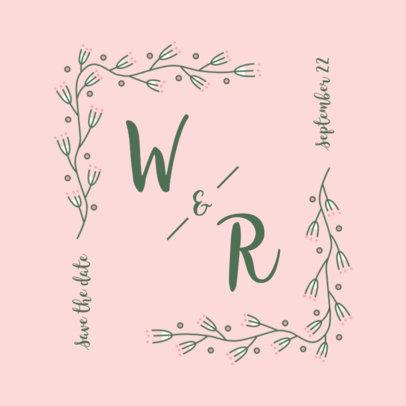 Logo Generator for Weddings Featuring a Botanical Frame 3650a-el1