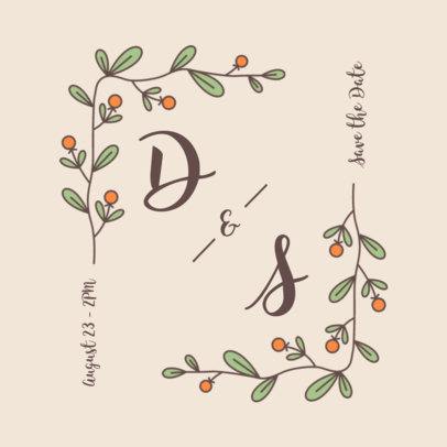 Logo Generator for Weddings Featuring Botanical Graphics 3650d-el1