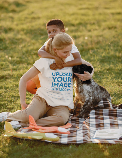 T-Shirt Mockup of a Woman Having a Picnic with Her Son and Pet M1347-r-el2