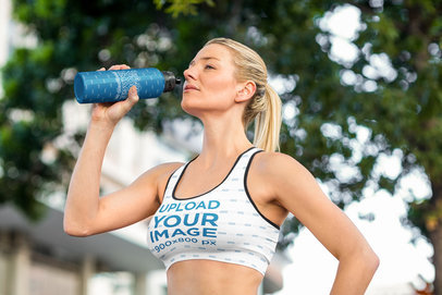 Sports Bra and Aluminum Bottle Mockup of a Woman Working Out m2599-r-el2