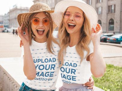 T-Shirt Mockup Featuring Two Happy Female Friends Having Fun m1594-r-el2