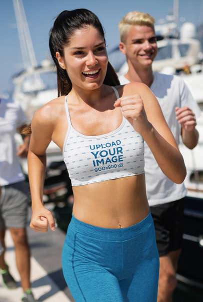 Sports Bra Mockup of a Happy Woman Running on a Sunny Day m2840-r-el2