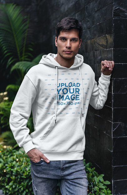 Hoodie Mockup of a Young Man Leaning Over a Wall 5123-el1