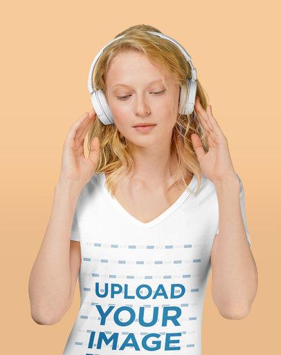 V-Neck Tee Mockup of a Woman with Headphones at a Studio m2797-r-el2