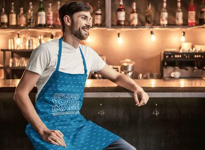 Apron Mockup Featuring a Smiling Man Sitting at a Bar m2912-r-el2