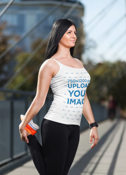 Tank Top Mockup of a Woman Stretching Her Leg Before a Run M3014-r-el2
