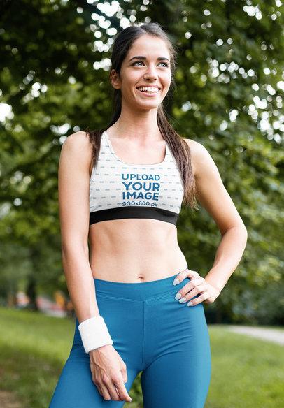 Sports Bra Mockup Featuring a Happy Woman Posing at a Park m2838-r-el2