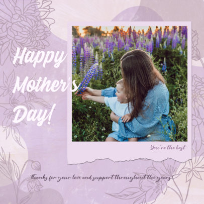 Mother's Day Instagram Post Generator Featuring an Illustrated Floral Background 3479f