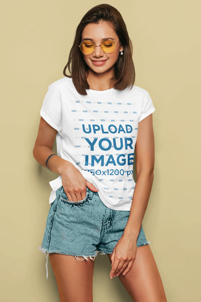 T-Shirt Mockup of a Young Woman in a Summer Outfit Posing m1363-r-el2