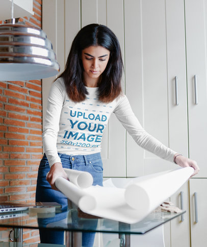 Long Sleeve Tee Mockup Featuring a Woman Working with Plans m2239-r-el2