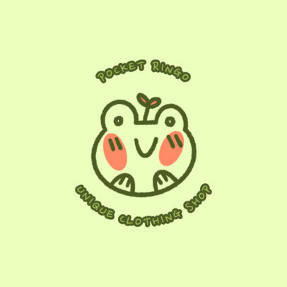 Kid's Apparel Brand Logo Template Featuring a Cute Frog Graphic 4140a