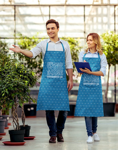 Mockup of Two Greenhouse Workers Wearing Aprons M2910-r-el2