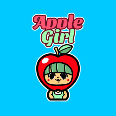 Kids Apparel Store Logo Maker Featuring a Kawaii Character in a Fruit Costume 4146K