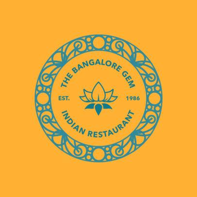 Indian Restaurant Logo Maker Featuring a Flower Graphic 4135f