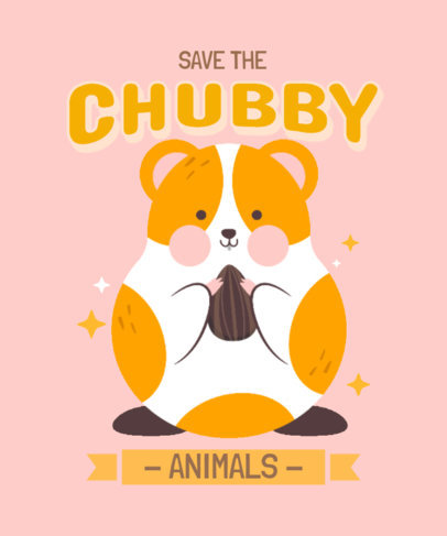 T-Shirt Design Template Featuring Fun Graphics with Cute Chubby Animals 3495