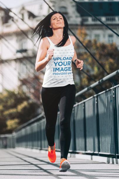 Tank Top Mockup of a Woman Jogging Through the City M3016-r-el2