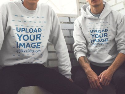 Mockup of Two Young Men Wearing a Sweatshirt and a Pullover Hoodie a15639