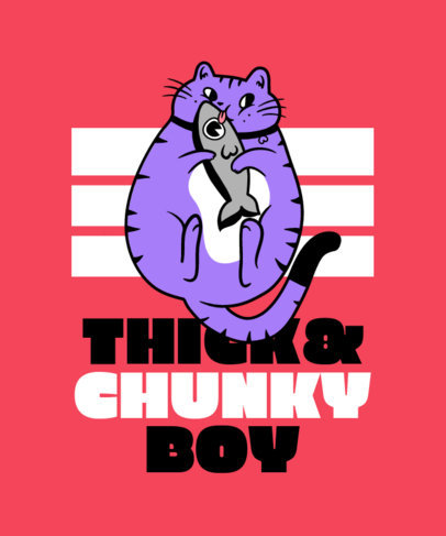 Funny T-Shirt Design Template with Cartoonish Graphics of Chubby Animals 3497
