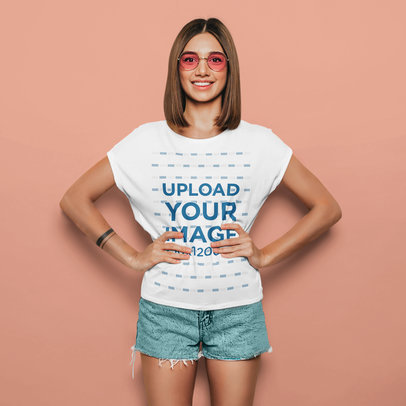 T-Shirt Mockup Featuring a Woman With an Arm Tattoo and Sunglasses at a Studio m1364-r-el2