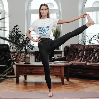 T-Shirt Mockup of a Woman Stretching Her Leg in a Yoga Pose m2684-r-el2