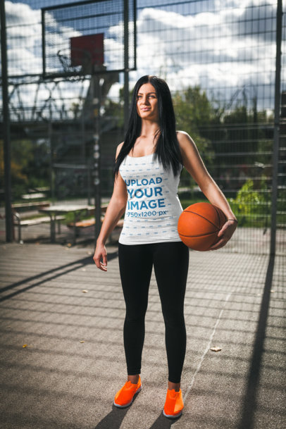 Tank Top Mockup of an Athletic Woman in a Basketball Court M3020-r-el2