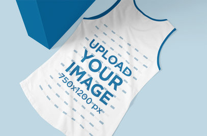Mockup of a Ringer Tank Top Laid in a Customizable Setting 5141-el1