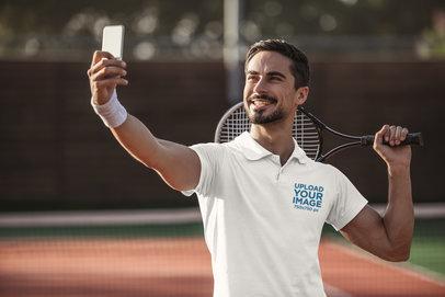 Polo Shirt Mockup of a Happy Tennis Player Taking a Selfie m2774-r-el2
