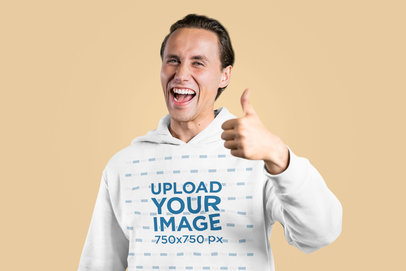 Hoodie Mockup of a Happy Man Making an Approval Sign m2378-r-el2