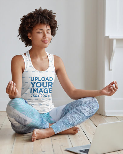 Sublimated Tank Top Mockup of a Woman Taking an Online Yoga Class m3370-r-el2