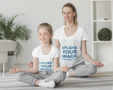 T-Shirt Mockup of a Girl and Her Mother Meditating at Home m2721-r-el2