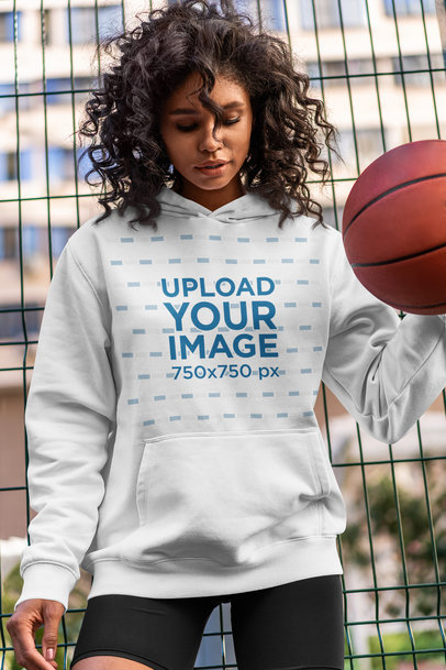 Hoodie Mockup of a Woman Dribbling a Basketball 5136-el1