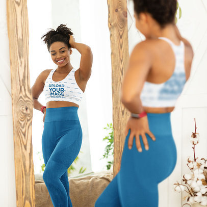 Sports Bra Mockup of a Happy Woman Admiring Her Own Body on the Mirror m2746-r-el2