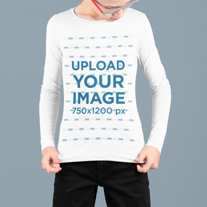 Mockup of a Kid Looking At His Long Sleeve Tee at a Studio m707