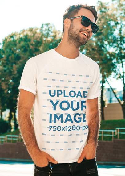 T-Shirt Mockup Featuring a Man With Sunglasses Posing at a Park m1509-r-el2