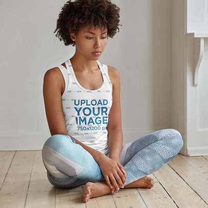 Sublimated Tank Top Mockup of a Woman Sitting on the Floor m3306-r-el2