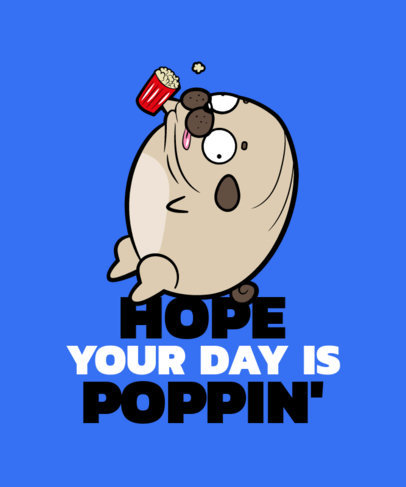 Silly T-Shirt Design Generator with a Cartoon of a Round Pug 3497c