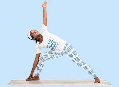 T-Shirt and Leggings Mockup of a Woman Doing Yoga in a Studio m2666-r-el2