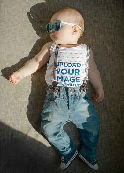 Tank Top Mockup of a Little Baby with Big Sunglasses m3148-r-el2