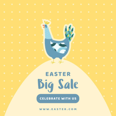Instagram Post Maker for an Easter Sale with a Chicken Graphic 3691b-el1