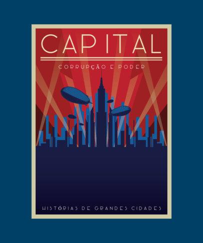 T-Shirt Design Creator with an Art-Deco Illustration of a Metropolis 3683e-el1