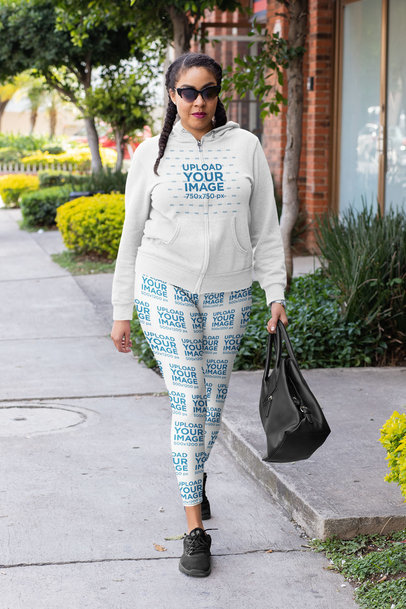 Athleisure Mockup of a Stylish Woman Wearing a Hoodie and Leggings 32429a