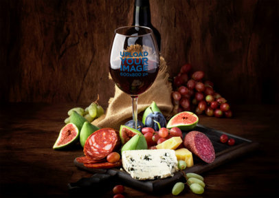 Mockup of a Wine Glass Surrounded by Fruits and CheeseMockup of a Wine Glass Surrounded by Fruits and Cheese m3055-r-el2