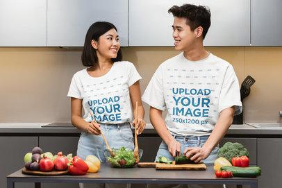 T-Shirt Mockup of a Young Couple Making a Salad m3404-r-el2