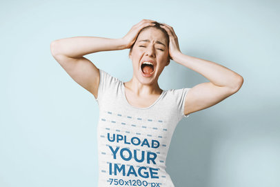 T-Shirt Mockup of a Woman Freaking Out in a Studio 45322-r-el2