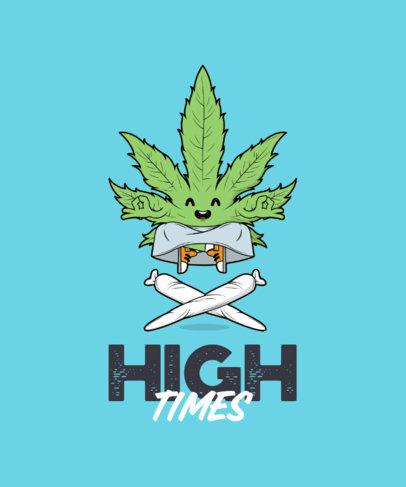 Cartoonish T-Shirt Design Maker Featuring a Marijuana Leaf Cartoon 3677b-el1