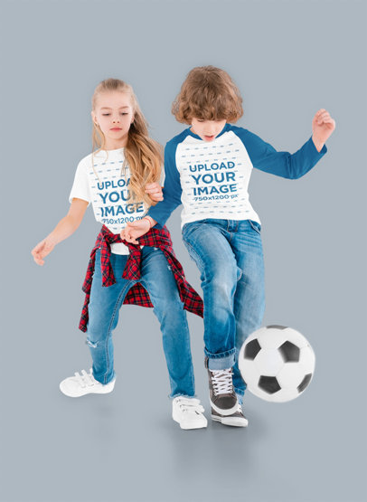 Raglan Long Sleeve Tee and T-Shirt Mockup of Two Kids Playing With a Soccer Ball m2712-r-el2