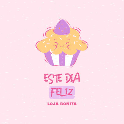 Logo Template Featuring a Cute Cupcake Clipart 4158a