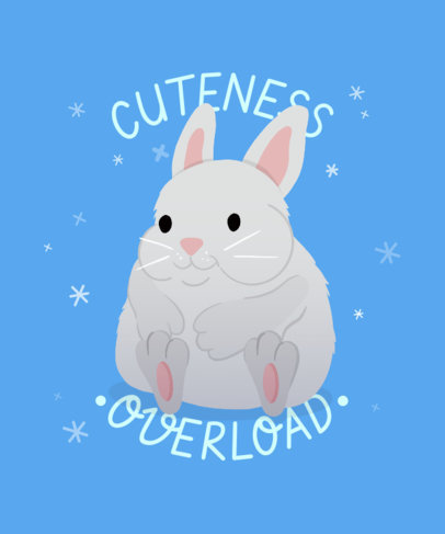 T-Shirt Design Creator with a Cute Illustration of a Fluffy Bunny 3496c