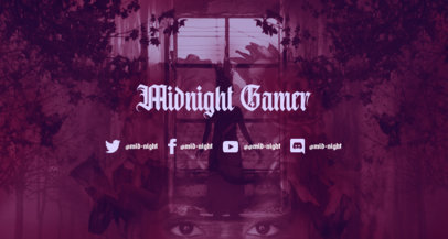 Twitch Banner Template for Gamers Featuring a Horror Theme 3493d